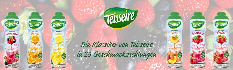 Die Klassiker von Teisseire in 23 Geschmacksrichtungen