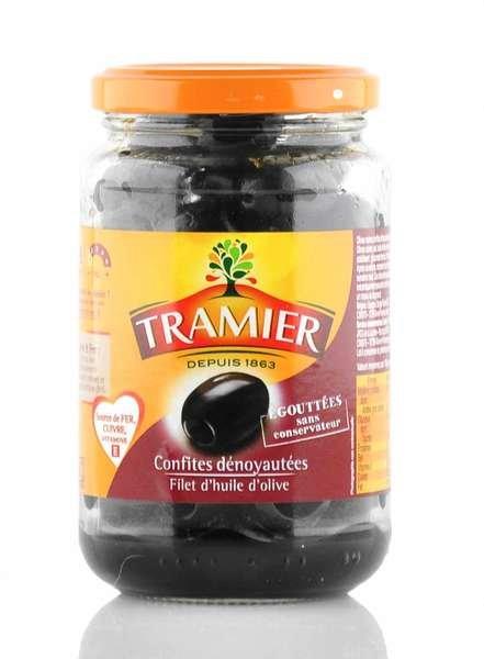 Tramier schwarze Oliven ohne Stein 150g Glas