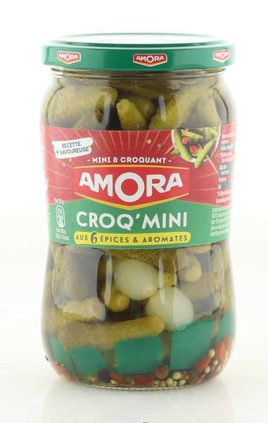 Amora Cornichons Croq Vert Extra Fins 400g / Atg. 205g