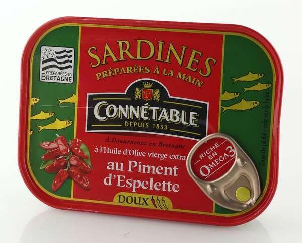 Connetable Sardinen eingelegt in Olivenöl mit Espelettepfeffer 135gr. / Atg. 102gr.