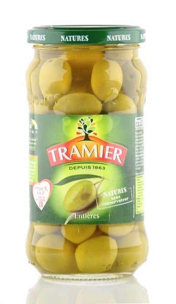 Tramier grüne Oliven mit Stein 355g Glas / Atg. 200g